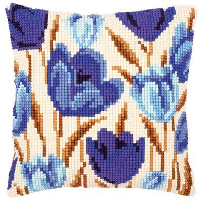 2. Набор для вышивания подушки Vervaco  PN-0021764 Синие цветы бутоны