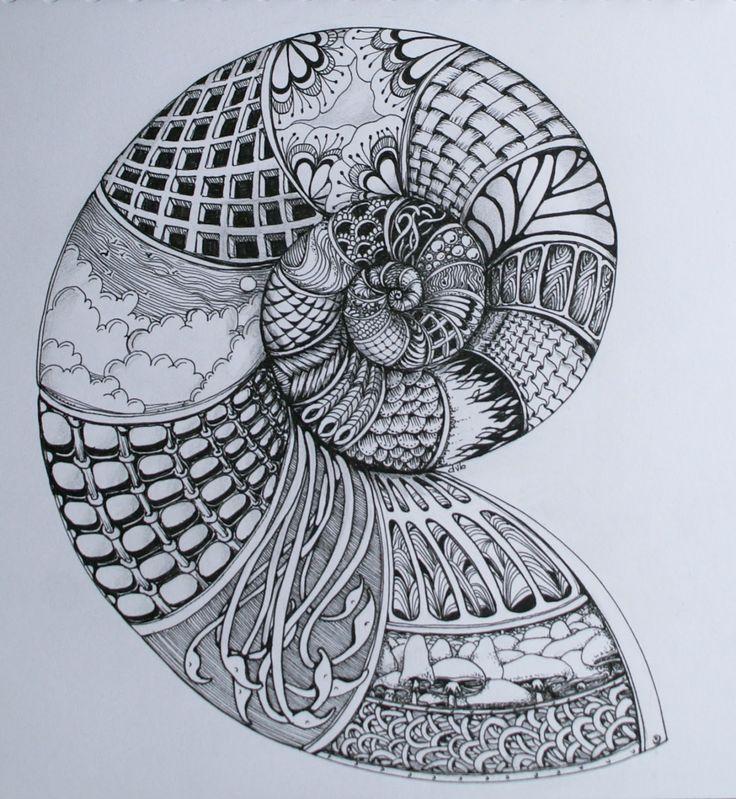 Sisters in Art: Nautilus Zentangle
