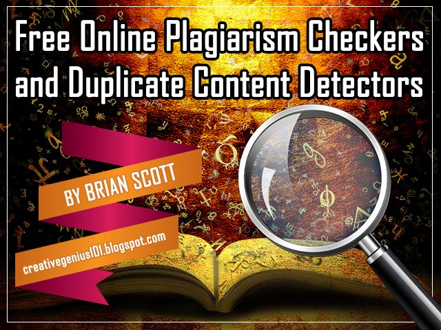 I round up and review the best online plagiarism checkers that you can use for free on your articles and documents, available at http://creativegenius101.blogspot.com/2013/12/free-online-plagiarism-checkers-and.html