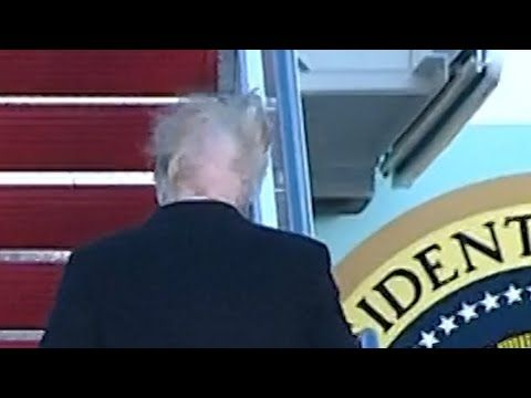 Hair-raising moment: blustery wind lifts lid on mystery of Donald Trump's mane | US news | The Guardian