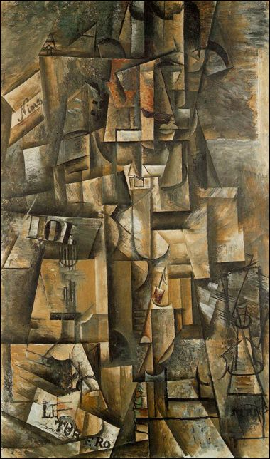 """Picasso made these fractured, disjointed paintings by """"analyzing"""" an object or scene from every angle, and then painting a single composition that combines each viewpoint. This early style of Cubism is actually called Analytic Cubism."""