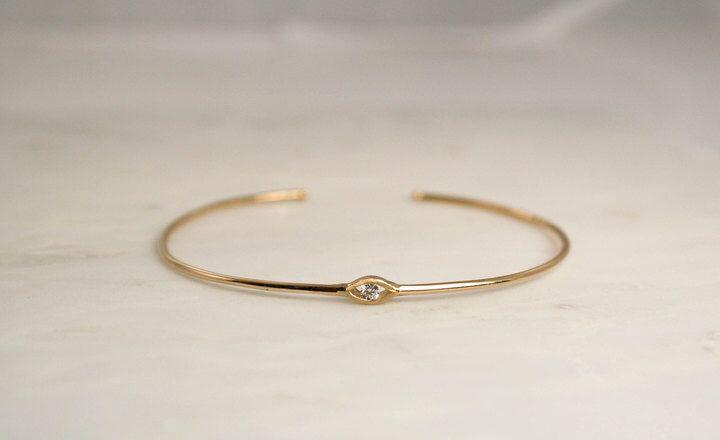 Etsy Solid Gold Evil Eye Diamond Bangle Bracelet in 14K