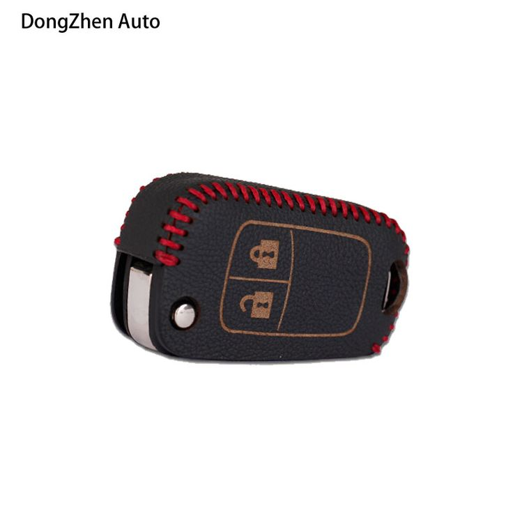 2 Button Car Key Covers Leather Auto Protecting Cases Cover Bag With Ring Fit For