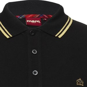 Merc Black w/Yell Piping Polo $64.00 Detailed Description (Black Polo with Yellow Piping, 100% Cotton)