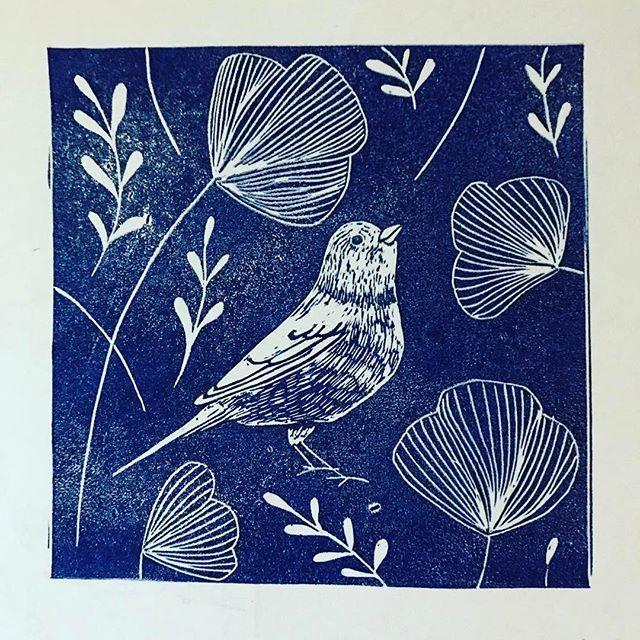 sweet little bird linoprint, hand carved rubber block,