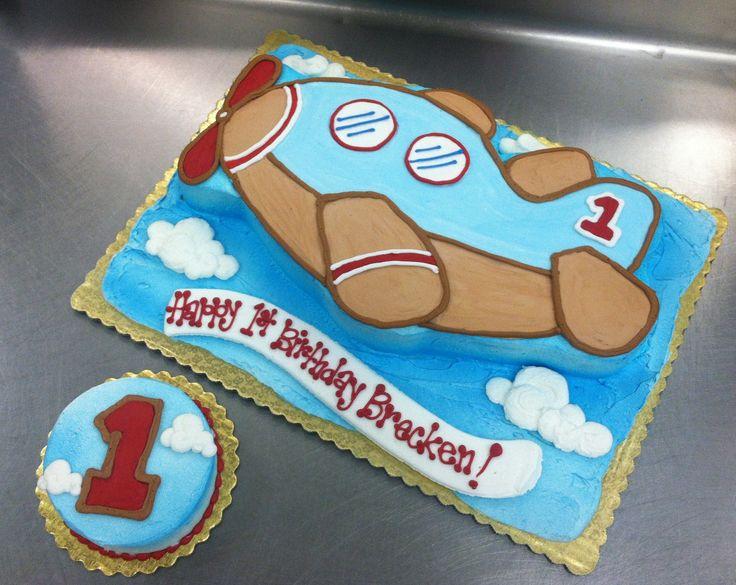 Airplane First Birthday Sheet Cake