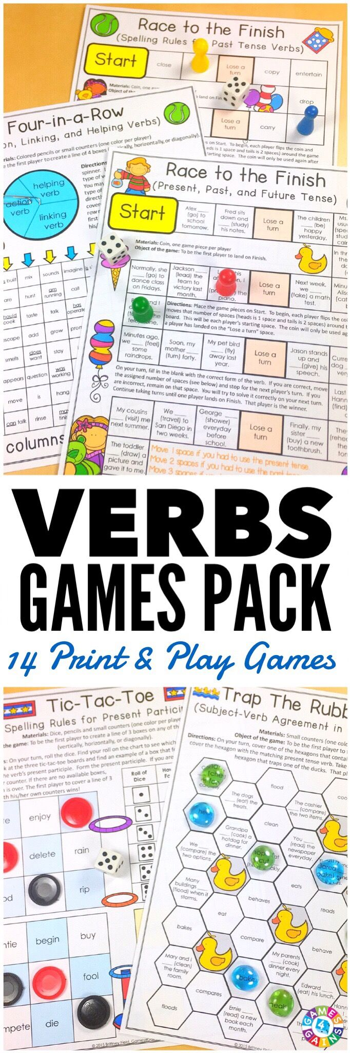 """""""LOVE these low-prep games! My students have so much fun playing them!"""" This Verbs Games Pack contains 14 fun and engaging printable board games to help students to practice action verbs, linking verbs, helping verbs, past tense verbs, present tense verbs, future tense verbs, irregular verbs, and much more!"""