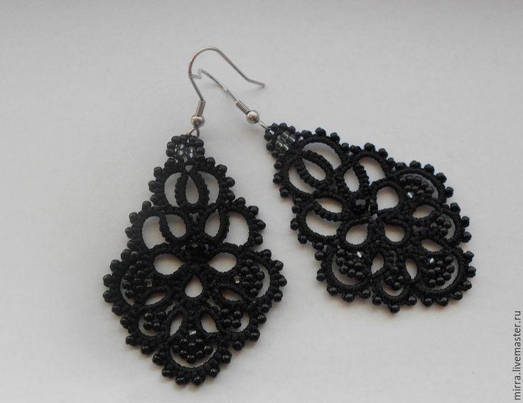 """Купить Серьги """"Черная орхидея"""" - черный, серьги, черные серьги, фриволите, анкарс, кружево"""