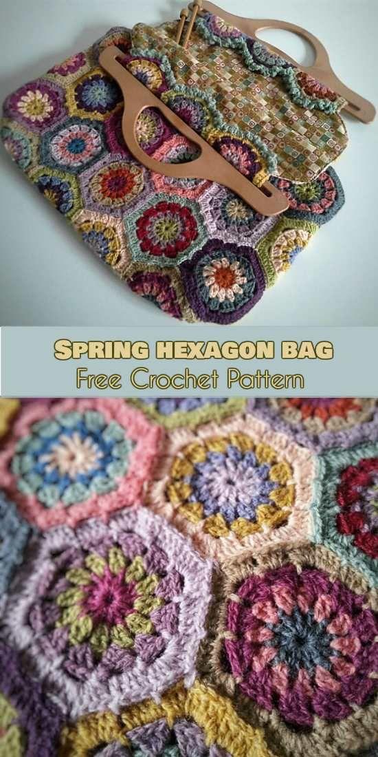 Spring Hexagons Bag [Free Crochet Pattern] #freecrochetpatterns #bags #yourcrochet #flowers #spring