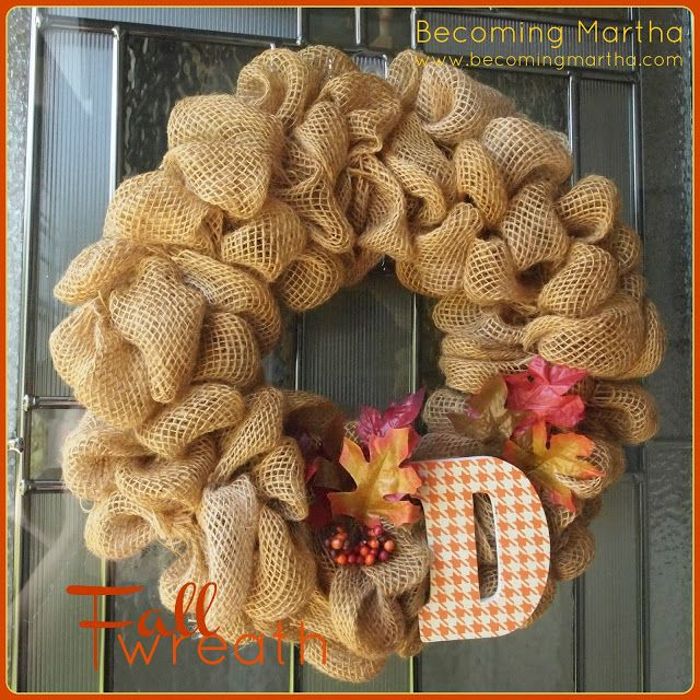 burlap wreath - make it a little more autumn without the initial