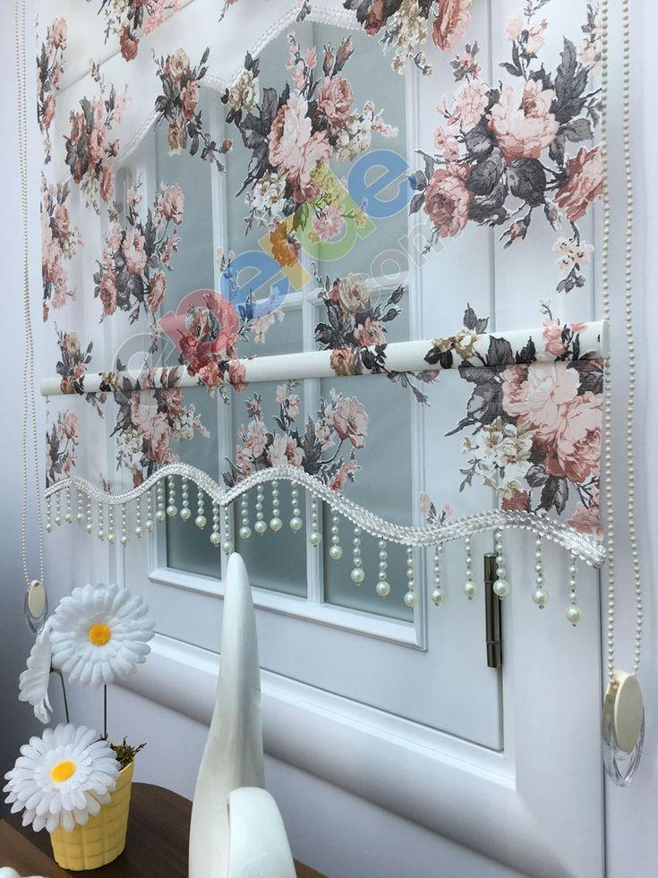 Çiçek Desen Çiftli Sistem Tül Stor Perde 55472317