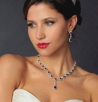Fabulous Sapphire Blue Crystal and CZ Wedding Jewelry Set - gorgeous!