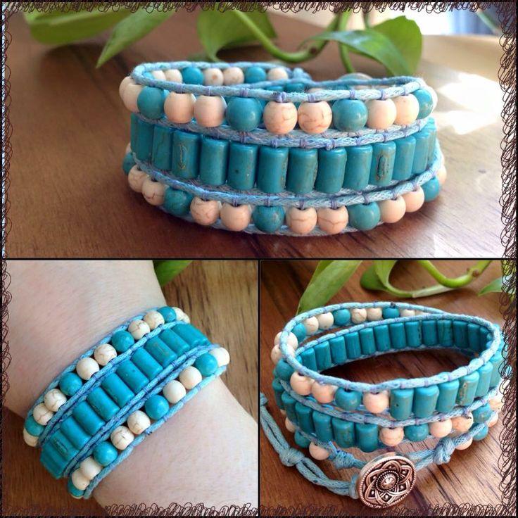 ITEM: Triple Wrap Bracelet  STONES: Magnesite and Turquoise beads SIZE: Adjustable   https://m.facebook.com/JediJewellery/