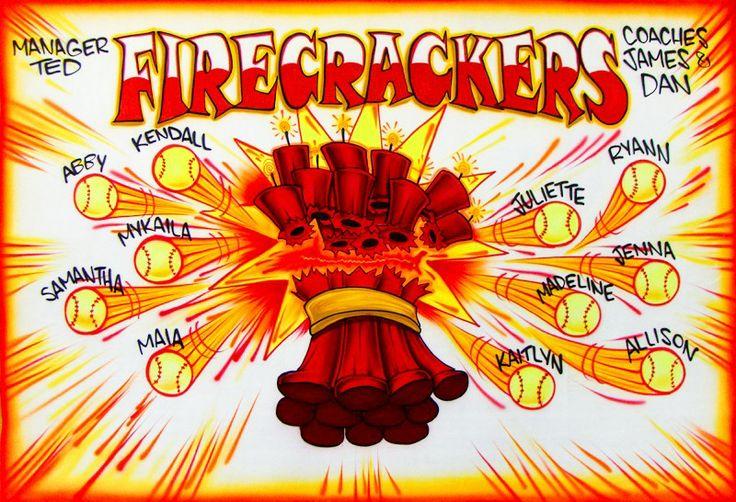 Softball Banner - Firecrackers - Airbrush
