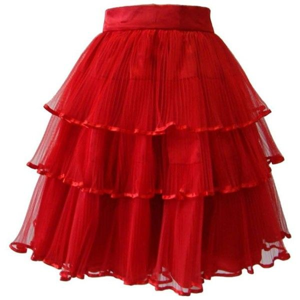 Preowned Rare Ella Singh Net Tiered Evening Skirt 1990's (29.920 UYU) ❤ liked on Polyvore featuring skirts, red, holiday skirts, net skirt, red knee length skirt, netted skirt and special occasion skirts