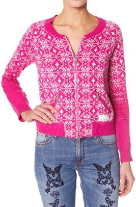 Pretty lipstick pink sweater from Swedish Odd Molly.  #857 getyourown bomber jacket dark pink