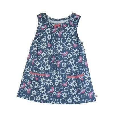 Frugi Παιδικό Αμάνικο Μπλουζοφόρεμα με Σούρα – Indigo Floral Birdie - Sunnyside
