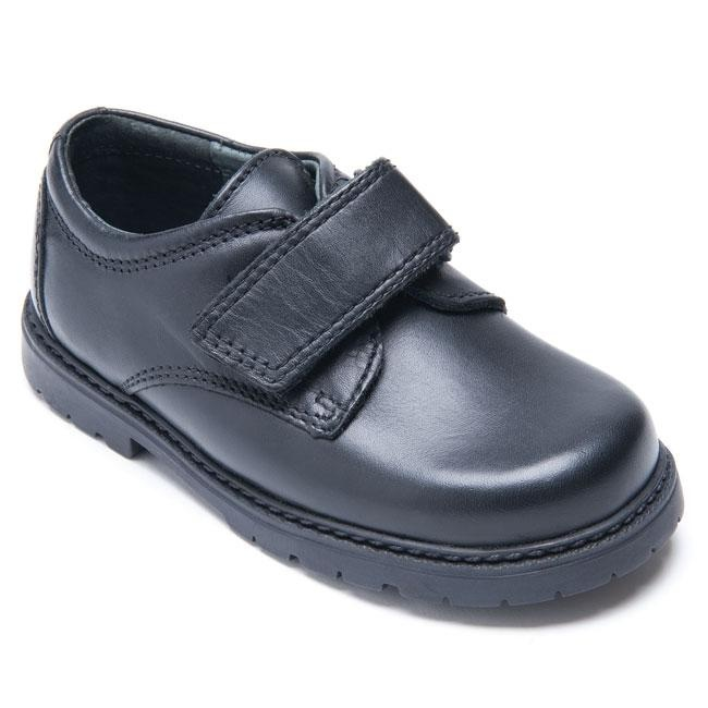 Will is a boys school shoe. Features include: single riptape fastener, premium dyed-through leathers and padding round the ankle for a comfortable fit. This boys school shoe also features a hard wearing sole making it suitable for all day wear at school