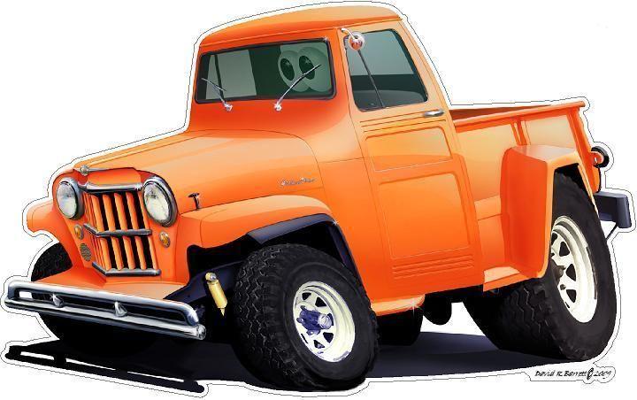 Dave Barrett Cartoon Car Art Classic Willys Jeep 4x4 Truck Wall Graphic Decal  #FatcatWallGraphicsCustomDecals #ModernMuscleCars