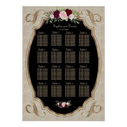Sparkles Gold Sequins Floral Seating Chart - floral style flower flowers stylish diy personalize