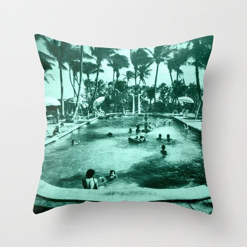 Throw Pillow, Motel Pool Pillow Cover Swimming Pool Decor Decorative Throw Pillow Mid Century Pillow MCM Pillow Old Florida Art Pillow aqua by VintageBeach on Etsy https://www.etsy.com/listing/164128535/throw-pillow-motel-pool-pillow-cover