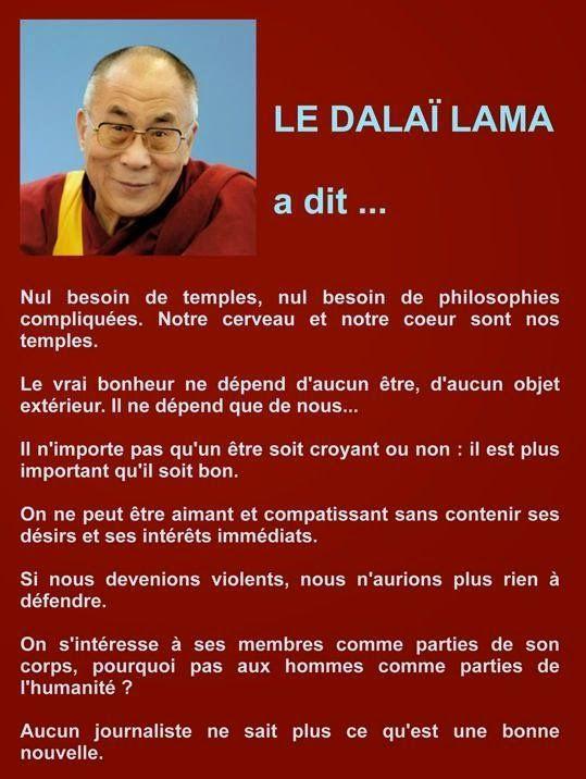 """Citations du Dalaï Lama : """"Aucun journaliste ne sait plus ce qu'est une bonne nouvelle."""" """"Il n'importe pas qu'un être soi..."""