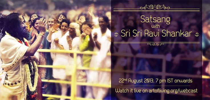 1 hour to go for the live webcast to begin...  Satsang with @Sri Sri Ravi Shankar   Watch it on http://www.artofliving.org/webcast