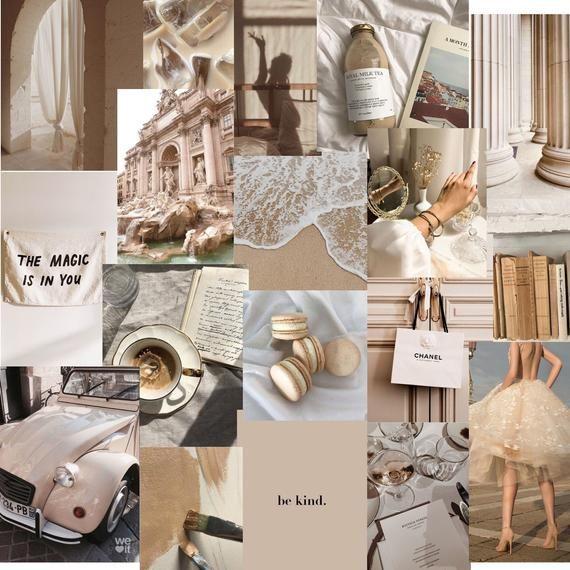 beige neutral photo collage kit set of 45 digital