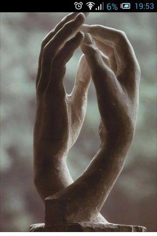 Sensitive hands sculpture art clay