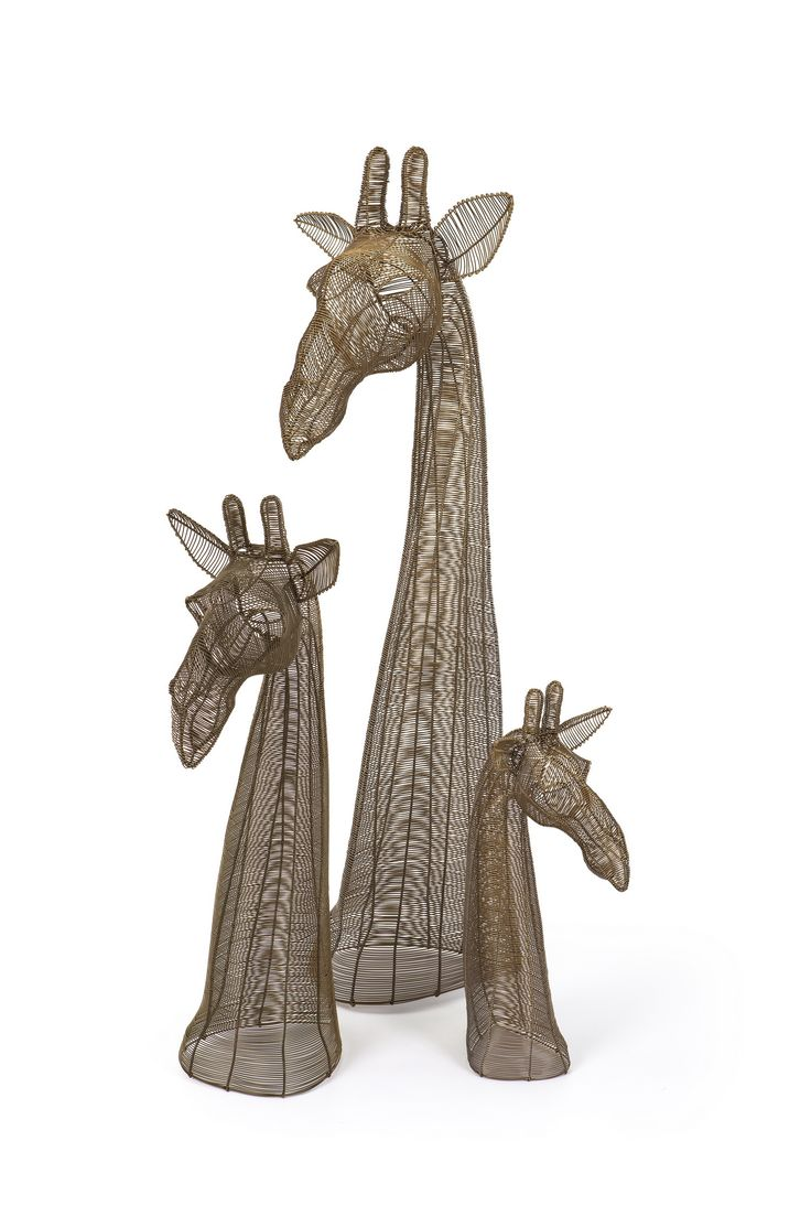 Gold Bronze small, medium and large giraffe bust. Handmade from steel wire.
