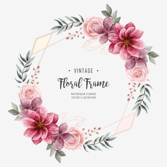 Watercolor Floral Flower Frame Wedding Invitation Golden Geometric Frame Png And Psd Flower Frame Floral Watercolor Wedding Frames