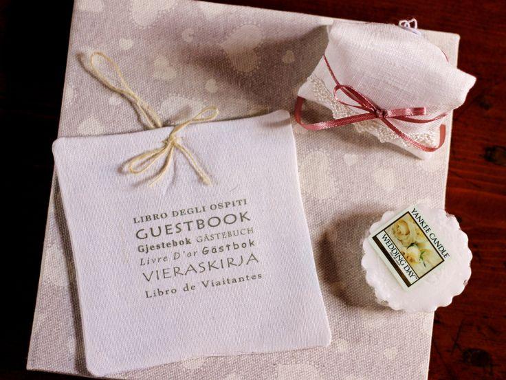 Libro degli ospiti e bustina segna posto #bomboniere #matrimonio #labottega #yankeecandle