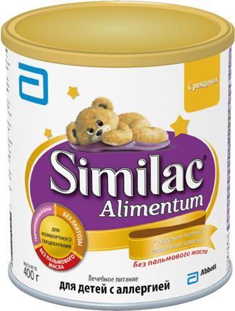Similac (Abbott) Alimentum (с рождения) 400 г  — 949р. --------- Сухая смесь Similac Alimentum с рождения 400 г. Детская сухая смесь на основе полностью гидролизованного казеина со среднецепочечными триглицеридами. Лечебное питание для детей с тяжелой пищевой аллергией без пальмового масла, лактозы и глютена. Similac Alimentum – доказанный эффект у детей с аллергией на белок коровьего молока. Полный гидролизат казеина - белковая молекула расщеплена на мелкие фрагменты, что существенно…