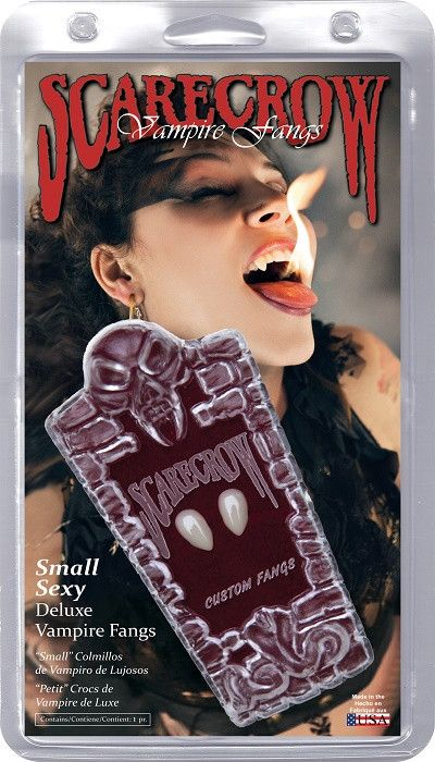 Haunt the night with these beautiful small Classic Vampire Fangs by Scarecrow! These fangs fit comfortably in people with small to average teeth. Flashing the Fang has never been easier! These large n