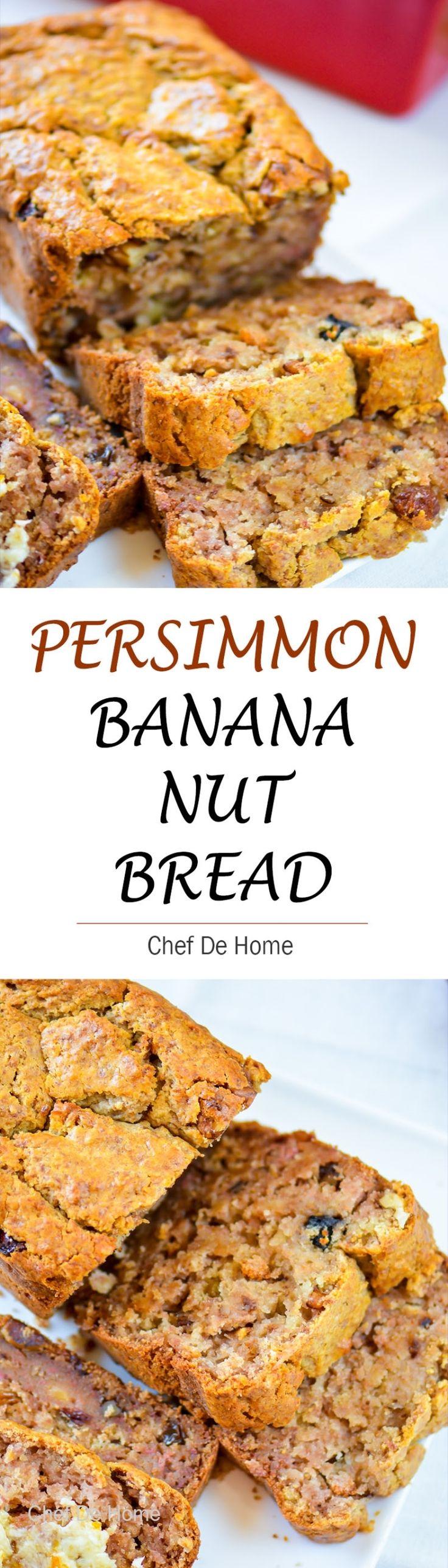 Persimmon Banana Nut Bread : Moist Banana bread with fresh persimmon fruit puree, walnuts and raisins for winter breakfast.
