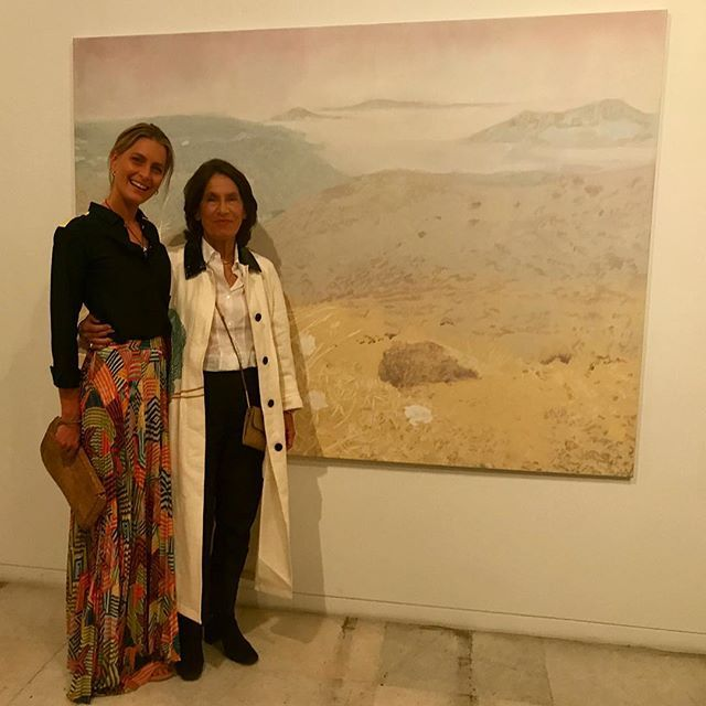 """With the very talented & inspiring artist @marina_karella at last night's opening of her new show @zoumboulakis_galleries. Standing infront of Marina's interpretation of Cavafy's poem """"Ithaka""""... #mustsee #marinakarella #cavafy #watercolours #peaceful #beauty #artinathens #light #family #athens"""