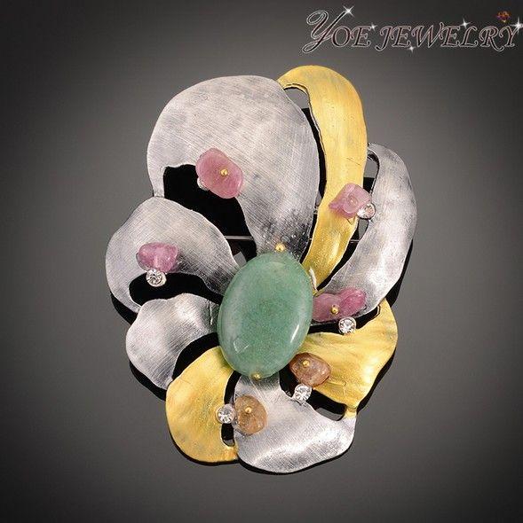 Пистолет металлические украшения эмаль винтаж цветок броши с естественным розовый камень Высокое качество бирюза брошь-пен,