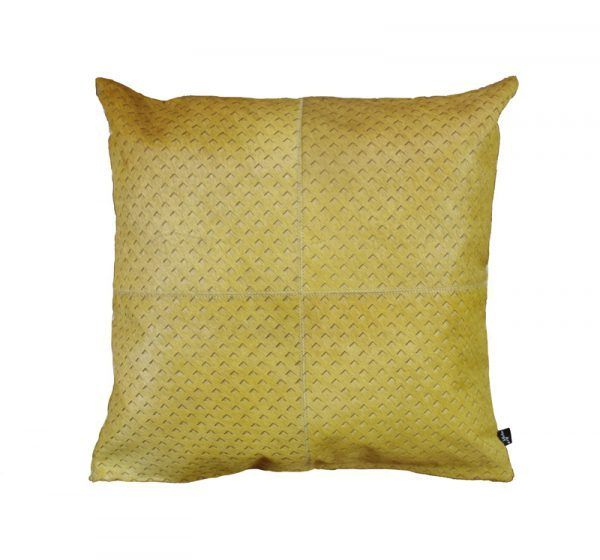 ZENDA CUSHION - OCHRE The Zenda laser burn cushion features a fine architectural style mini arrow pattern. The Zenda burn is a lovely textural addition to any hide, blending in seamlessly with any interior.  This cushion has been hand made by skilled artisans, each cushion is unique and one of a kind.  Cushion measures 50 x 50cm. Comes with Tonal Suedette Backing.  PET Fill included.