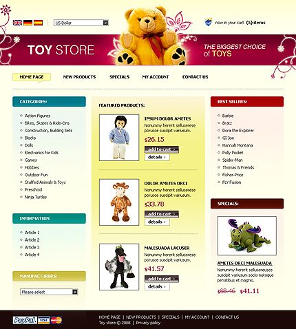 Toys Store osCommerce Templates by Nessy