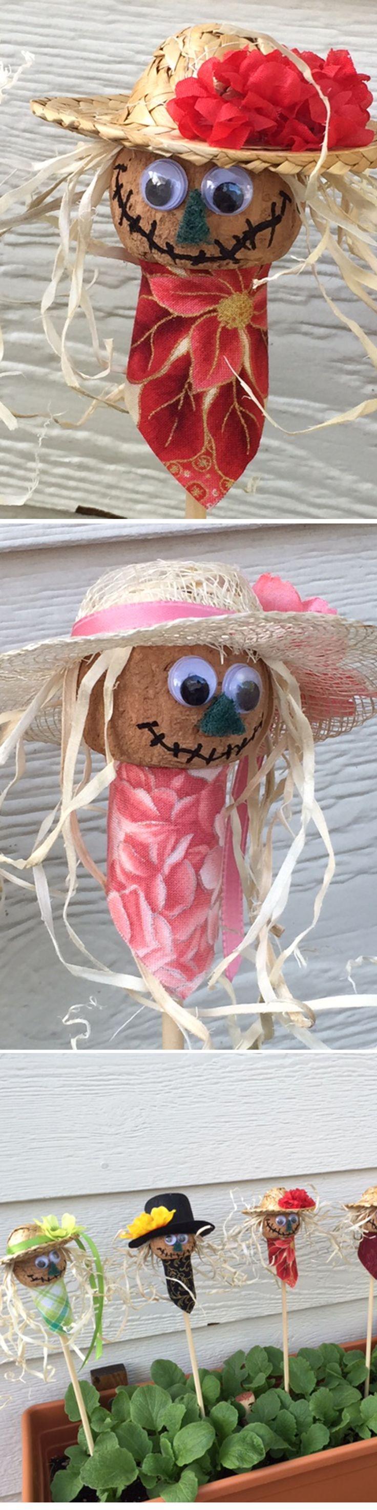 Patron Cork Scarecrow Garden Buddies - Got the idea from https://www.pinterest.com/pin/20477373282365528/