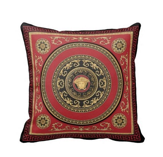 Pillow throw cushion CASE with VERSACE MEDUSA style by Aautruche living room Pinterest ...