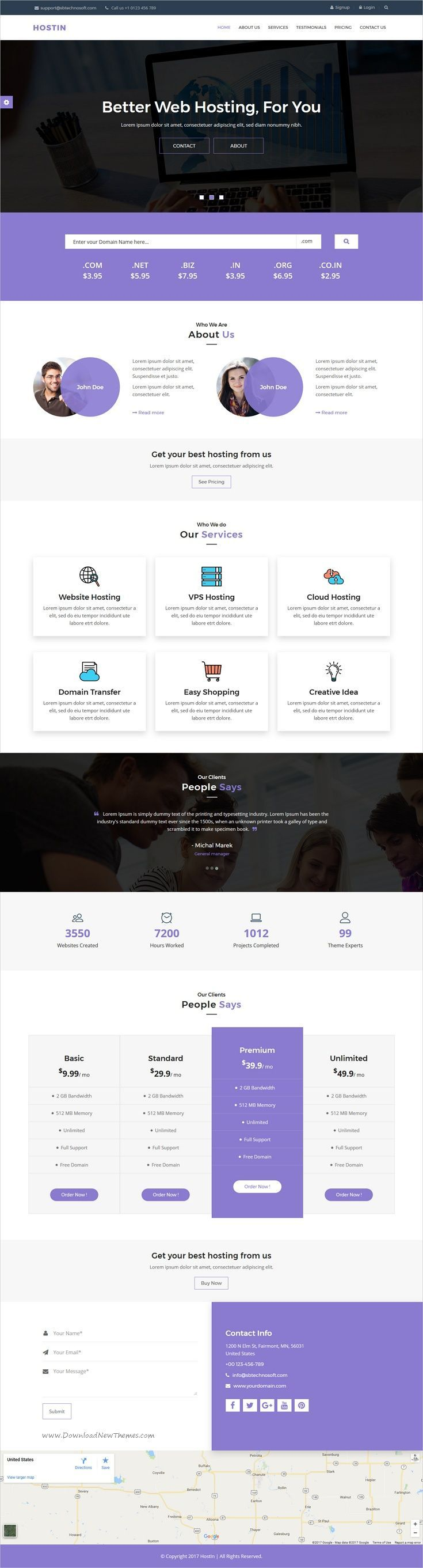 HostIn is clean and modern design responsive #HTML5 template for one page web #hosting service website download now..