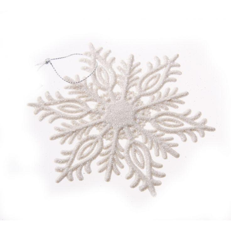 Deze witte glitter kersthanger in de vorm van een sneeuwvlok is gemaakt van kunststof en heeft een formaat van ca. 10 cm. Type 3 op de foto.