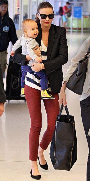 Miranda Kerr is one cool, stylish mom!Mirandakerr, Miranda Kerr, Mommy Style, Airports Chic, Street Style, Stripes Tops, Style Icons, Black Blazers, Red Pants