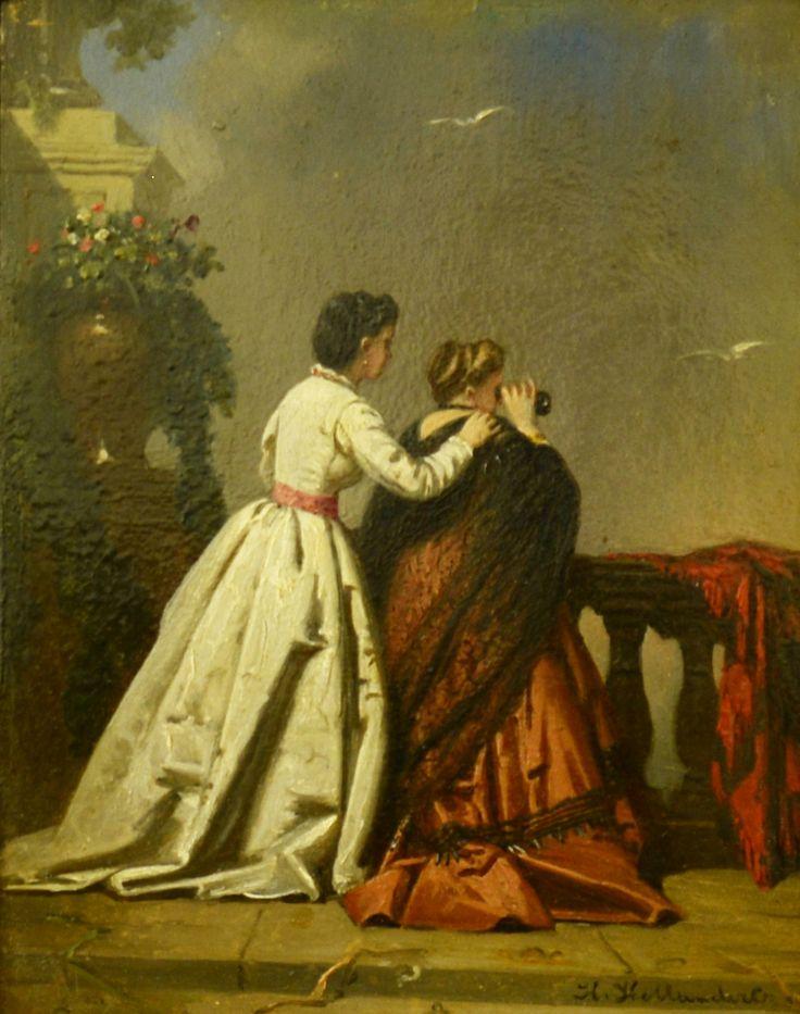 Hollander, Hendrik (1823-1884) Titel: Moeder en dochter - Artiquair