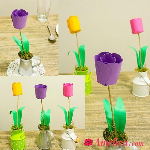 Красивые тюльпаны из бумаги своими руками, почти живые тюльпаны можно сделать самим, мастер-класс как сделать тюльпаны из цветной бумаги, букет тюльпанов