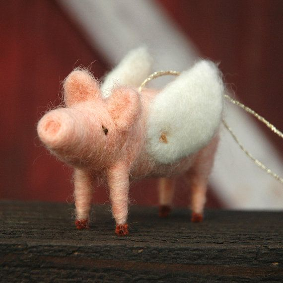 When Pigs Fly - Needle Felted Christmas Ornament too cute :)