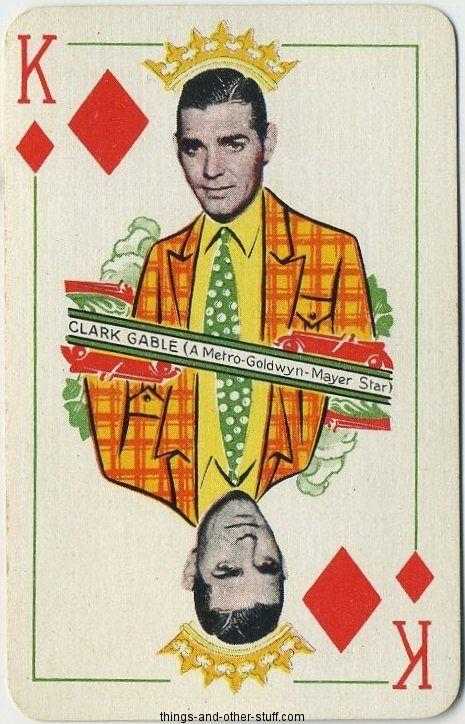 Clark Gable 1933 Thomas De La Rue King of Diamonds Playing Card on Immortal Ephemera  http://immortalephemera.zippykid.netdna-cdn.com/wp-content/gallery/1933-thomas-de-la-rue/dk-clark-gable-a.jpg
