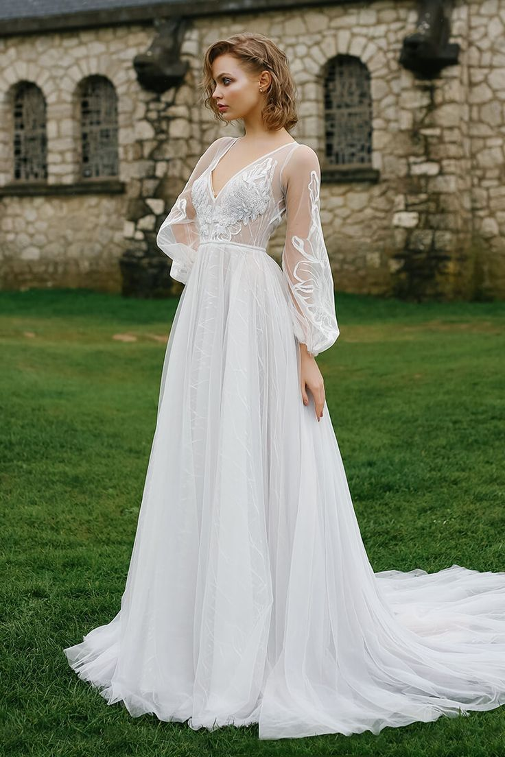 A-Line open back wedding gown