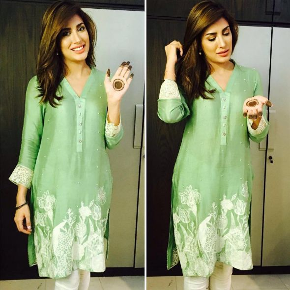 Mehwish Hayat Eid | love the the colour and details on the top. #dress decoded#go desi....